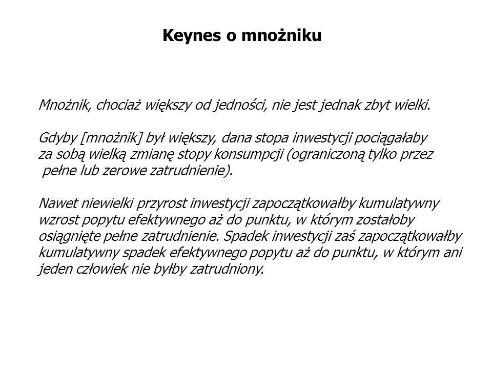 Keynes o mnożnikuMnożnik, chociaż większy od jedności, nie jest jednak zbyt wielki. Gdyby [mnożnik] był większy, dana stopa inwestycji pociągałaby.